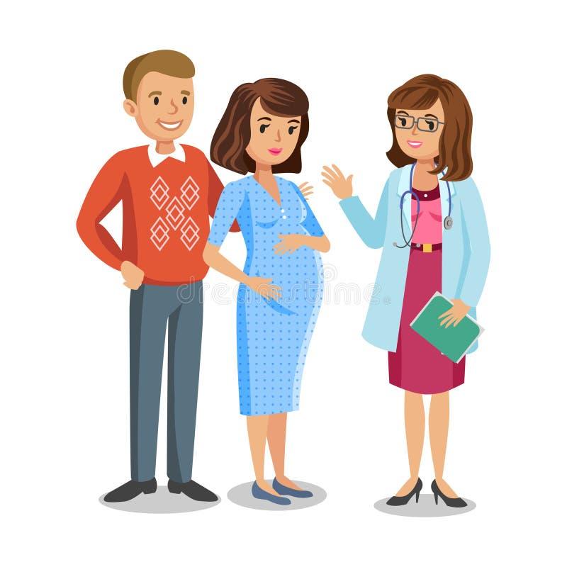 Familie bezoekende arts in kliniek, verwachtende ouders, zwangerschap stock illustratie