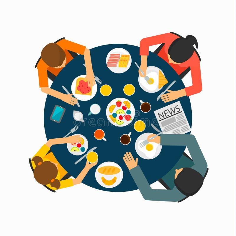 Familie bij de lijst die gezond ontbijt eten vector illustratie