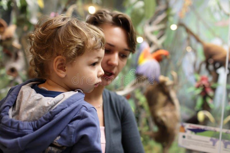Familie bij excursie in museum royalty-vrije stock foto