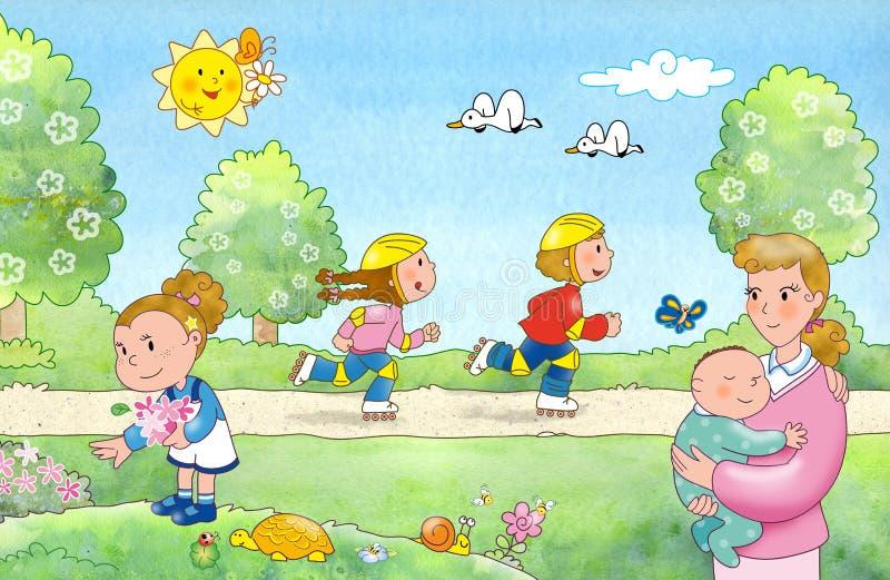 Familie bij het park vector illustratie