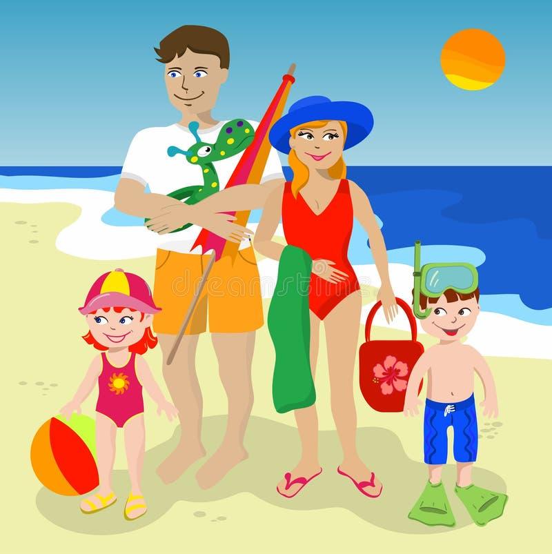 Familie bij het strand vector illustratie