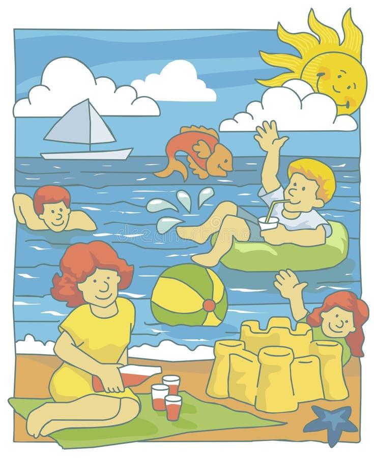 Familie bij het strand stock illustratie