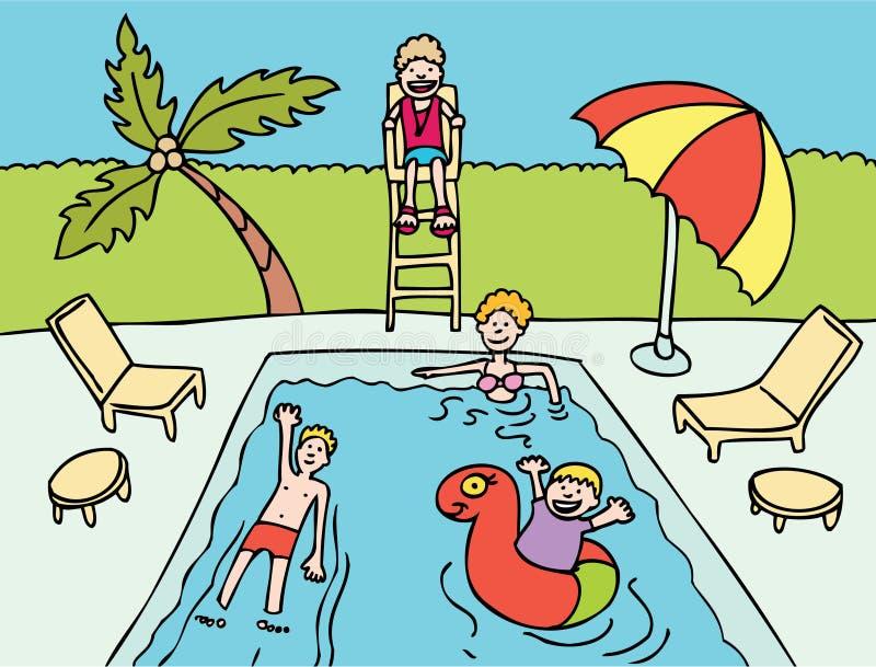 Familie bij Pool royalty-vrije illustratie