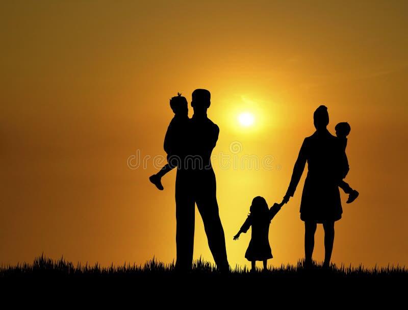 Familie bij Zonsondergang 3 vector illustratie