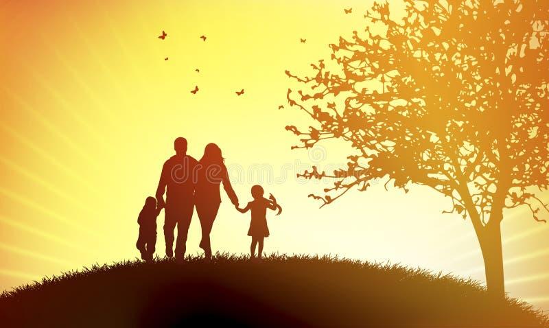 Familie bij zonsondergang vector illustratie