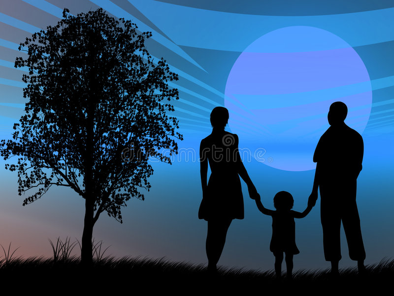Familie bij zonsondergang