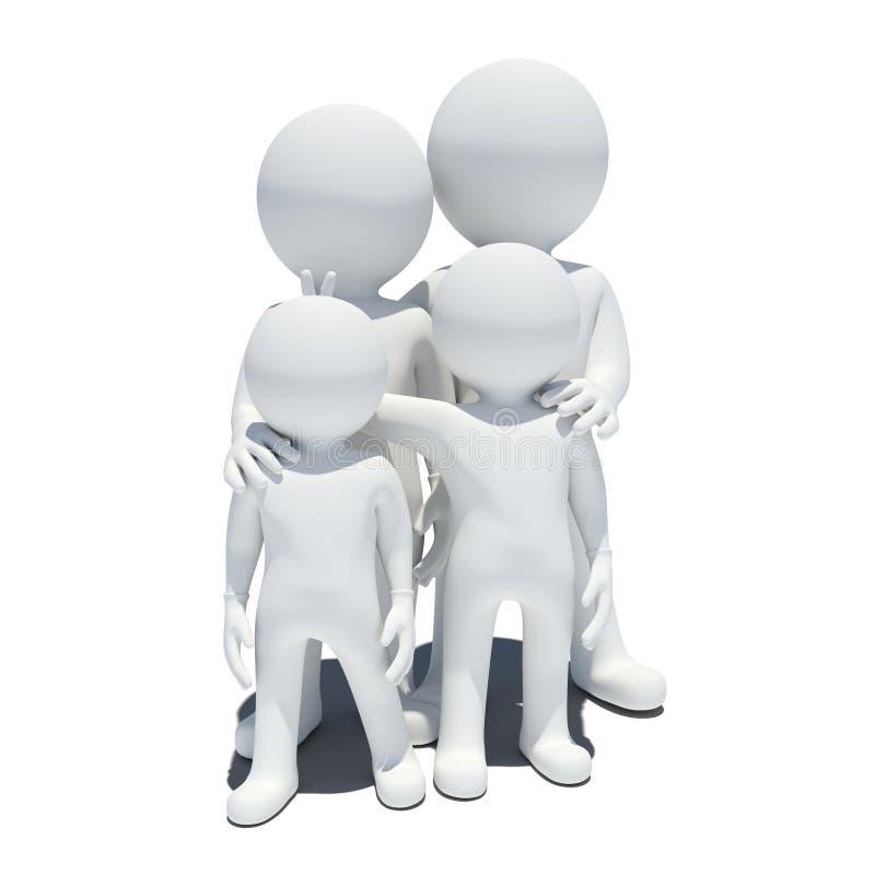 Familie 3d witte mensen stock illustratie