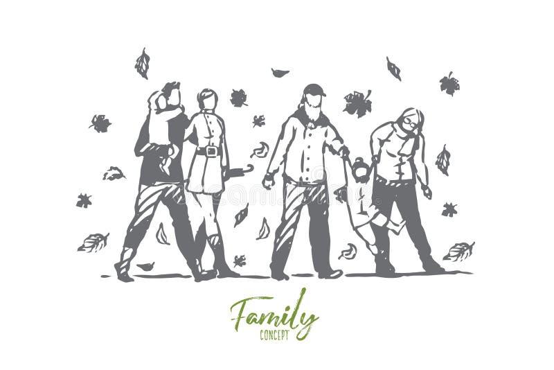 Familie, de herfst, park, mensen, boomconcept Hand getrokken ge?soleerde vector stock illustratie