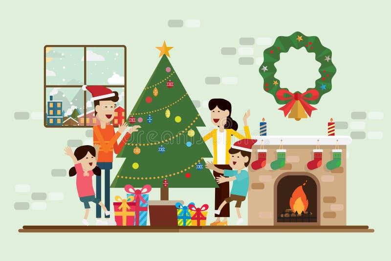 Familie in de Kerstmisdag en decoratie in open haardruimte royalty-vrije illustratie