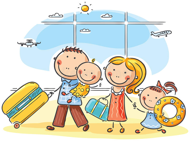 Familie in de luchthaven vector illustratie