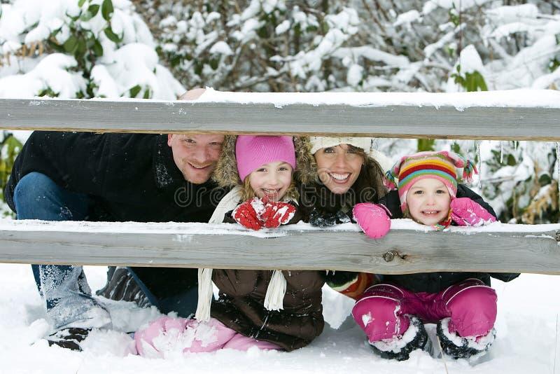 Familie in de sneeuw stock fotografie