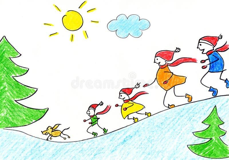Familie in de winter stock illustratie