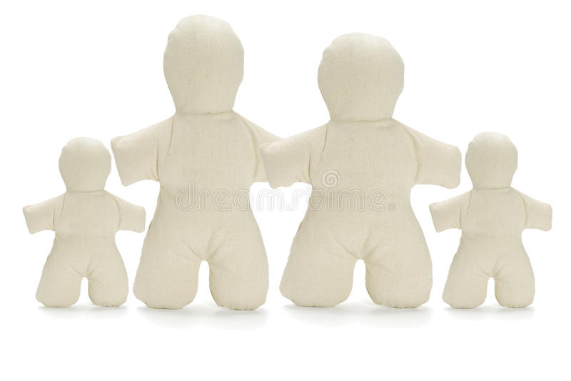 Familie der gesichtslosen blinden weichen Puppen stockfotografie