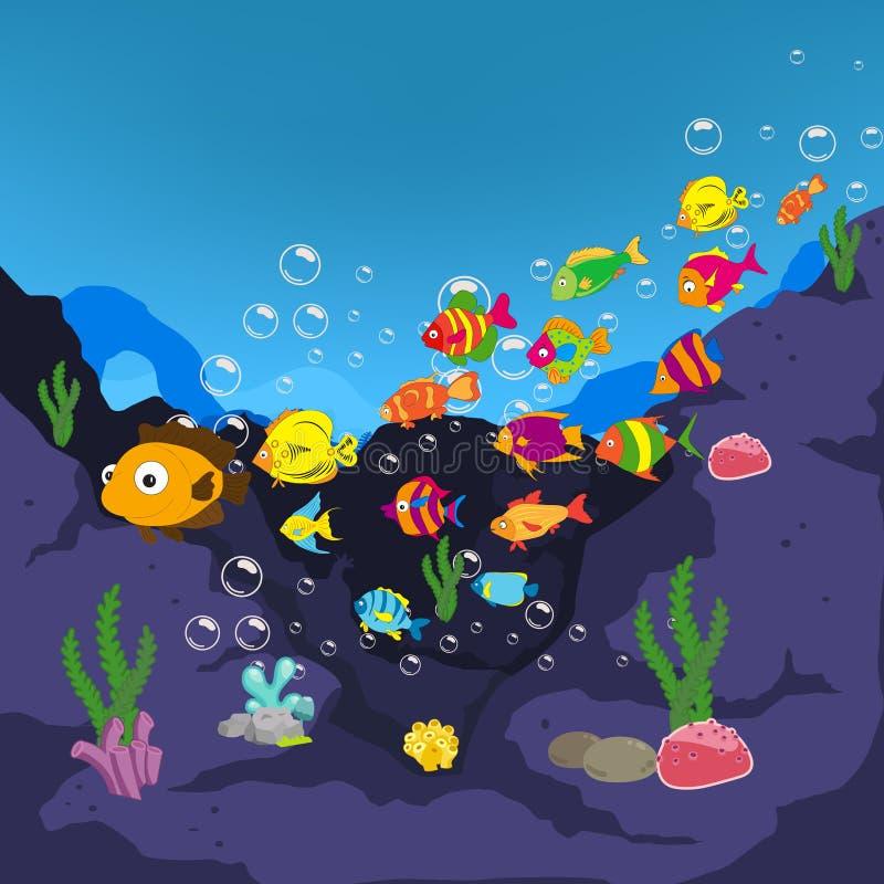 Familie der lustigen Fische unter dem Meer lizenzfreie abbildung