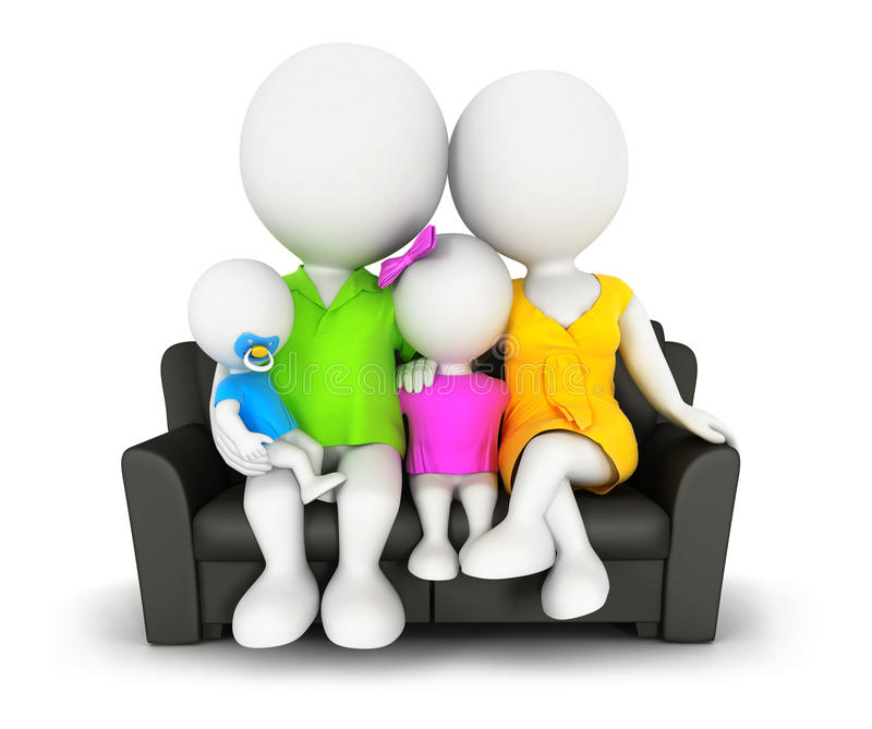 Familie der weißen Leute 3d, die auf Sofa sitzt stock abbildung