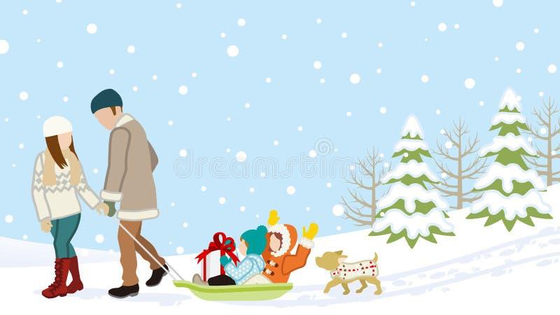 Familie in der Winternatur - Eltern, die Kinder durch den Schlitten tragen vektor abbildung
