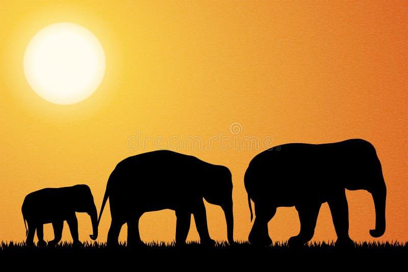 Familie des Elefanten in Afrika-Vektor stock abbildung