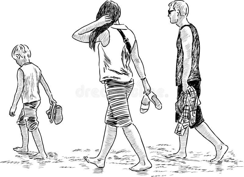 Familie, die auf den Strand geht lizenzfreie abbildung