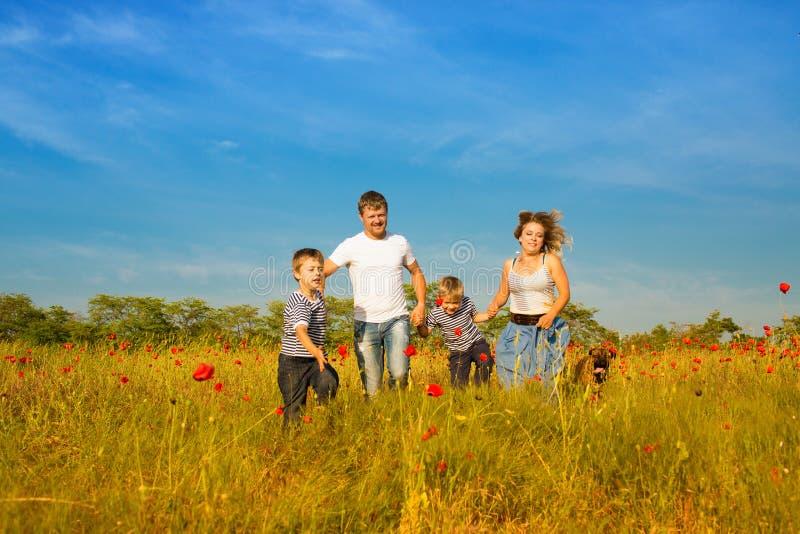 Familie, die auf der Wiese spielt stockfotografie