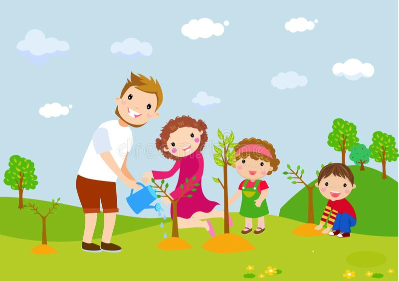 Familie, die Baum pflanzt lizenzfreie abbildung