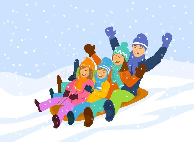 Familie die bergaf sledding stock illustratie