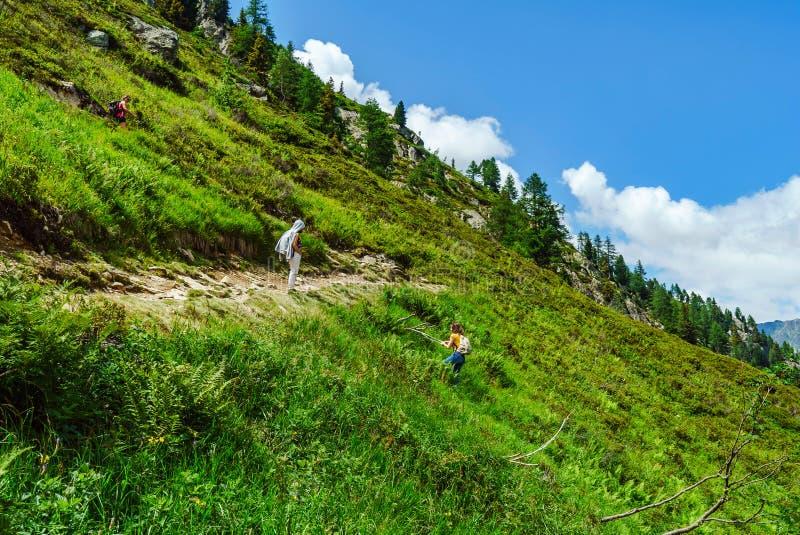 Familie die in bergen, Alpen, Frankrijk, zonnige dag wandelen royalty-vrije stock foto