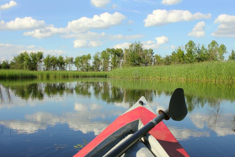 Familie, die, canoeing auf dem Fluss, aktive das Sommerwochenende und -ferien, das Konzept des Sports und Eignung Kayak fährt lizenzfreie stockfotografie
