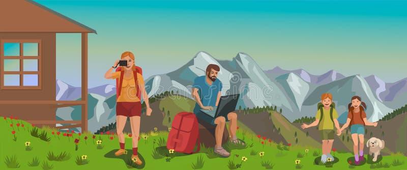 Familie, die in den Bergen mit dem Internet stillsteht stock abbildung