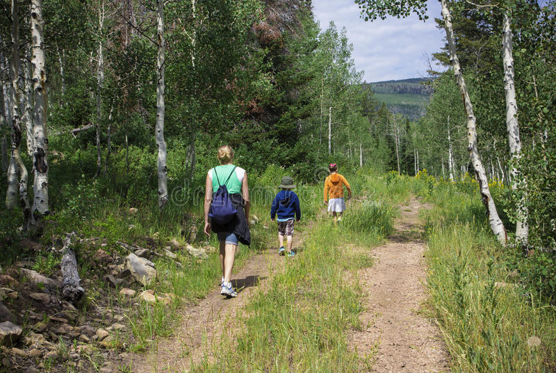 Familie, die in den Bergen wandert lizenzfreie stockbilder
