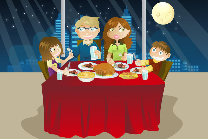 Familie die diner eet vector illustratie