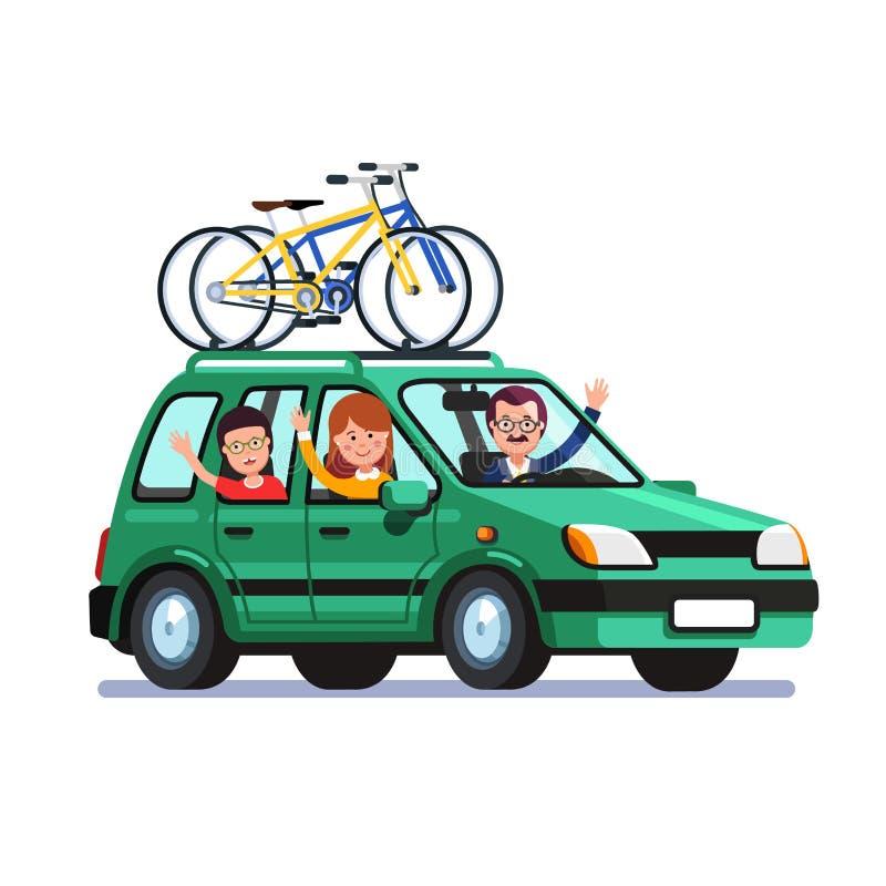 Familie die door auto met fietsen op het dak reizen royalty-vrije illustratie