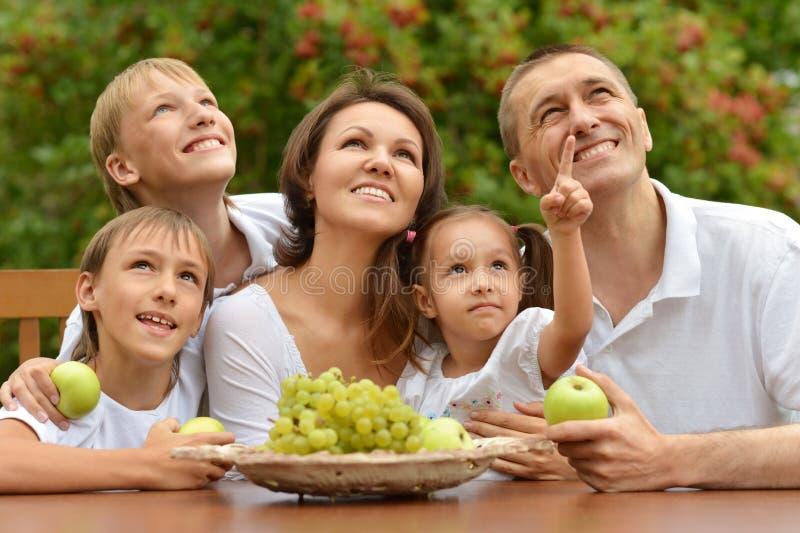 Familie, die draußen Früchte isst stockbilder