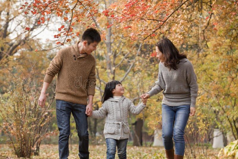 Familie, die durch den Park im Herbst geht lizenzfreies stockbild