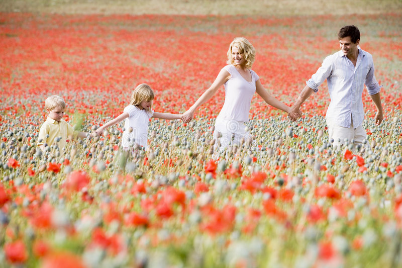 Familie, die durch Mohnblumefeld geht lizenzfreies stockfoto