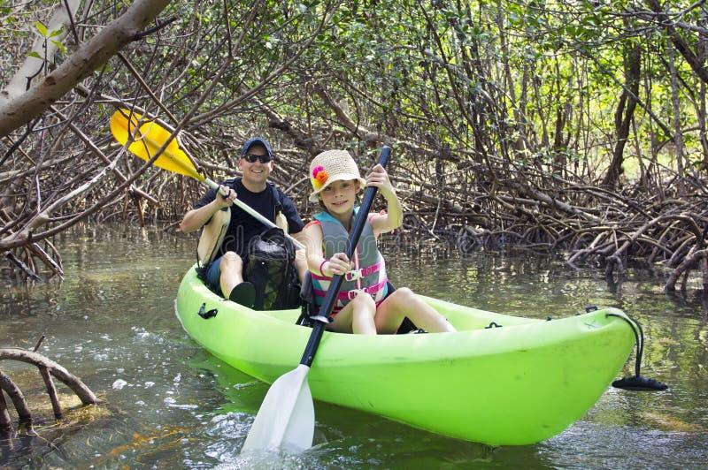 Familie, die durch tropischen Mangrove Wald Kayak fährt stockfotografie