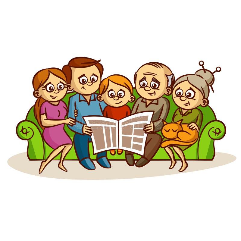 Familie die een krant lezen vector illustratie
