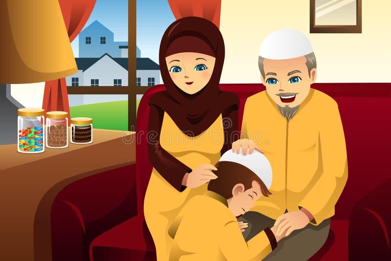 Familie, die Eid-Al-fitr feiert lizenzfreie abbildung