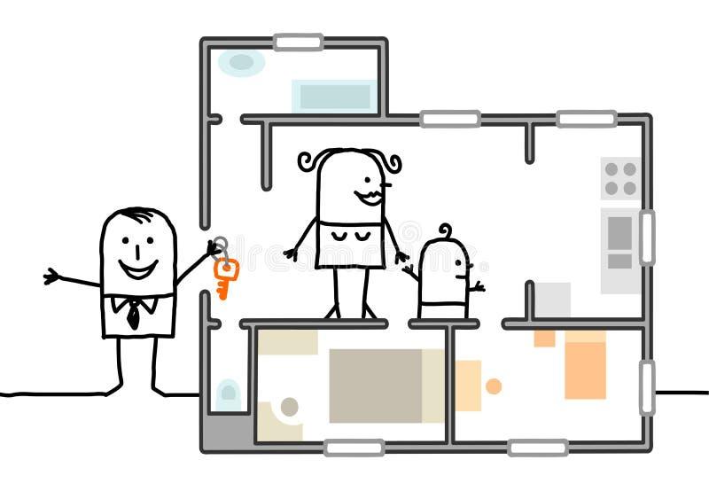 Familie, die ein neues Haus besichtigt lizenzfreie abbildung