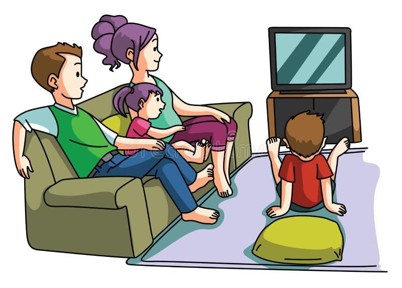 Familie, die Fernsehzeit aufpasst stock abbildung