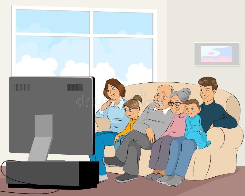 Familie, die Fernsieht lizenzfreie abbildung