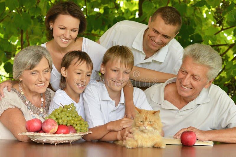 Familie, die Früchte im Sommer isst lizenzfreie stockbilder