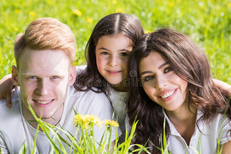 Familie die in gras bepalen stock foto