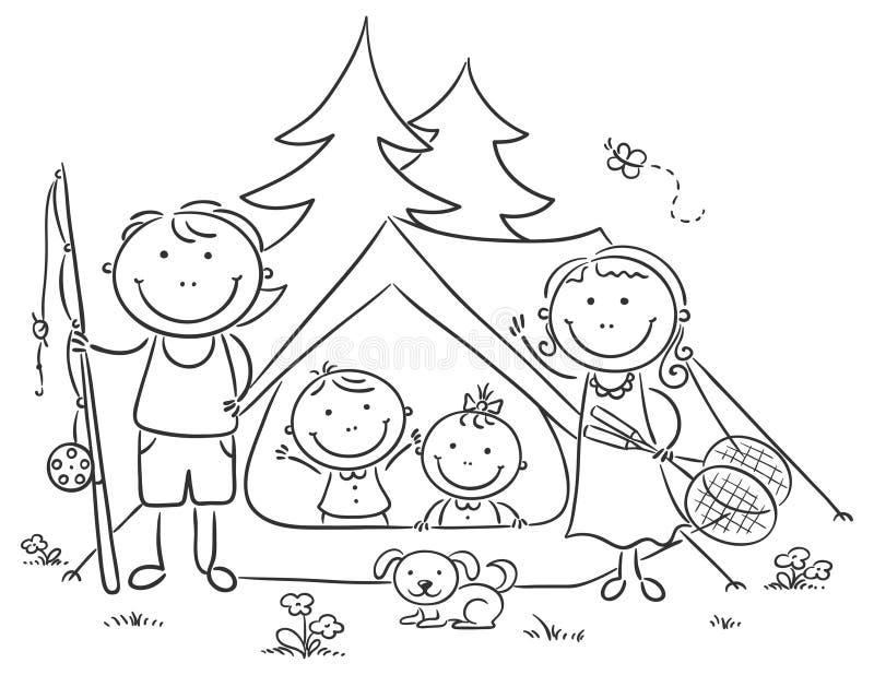 Familie die in het hout kamperen stock illustratie