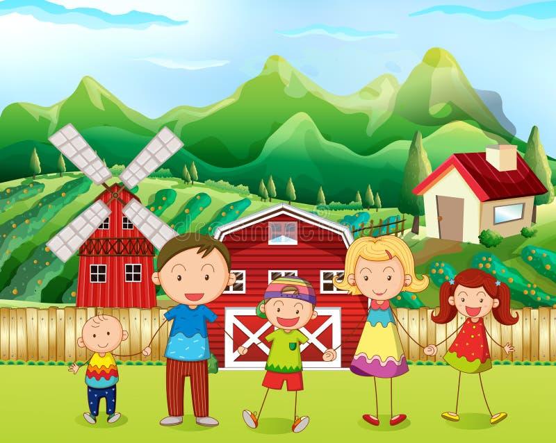 Familie die in het landbouwbedrijf leven stock illustratie