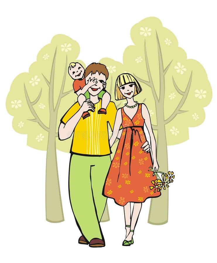 Familie die in het park wandelt royalty-vrije illustratie