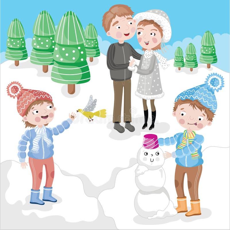 Familie die het SneeuwBos van de Pret heeft vector illustratie