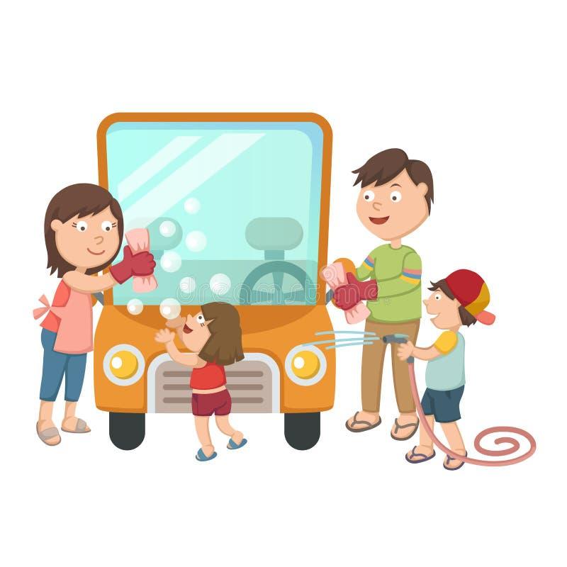Familie die hun auto wassen stock illustratie