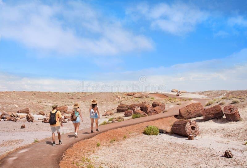 Familie, die im Urlaub erforschende versteinerte Bäume wandert lizenzfreies stockfoto