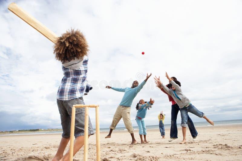 Familie, die Kricket auf Strand spielt lizenzfreies stockfoto