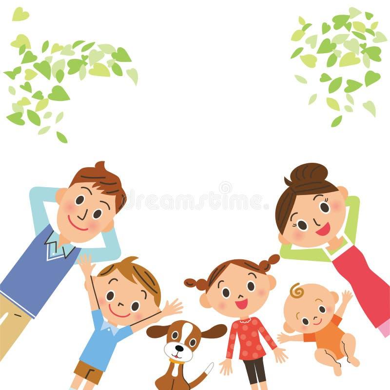 Familie, die liegt lizenzfreie abbildung